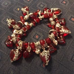 Jewelry - Charm Bracelet Red and Silver Heart